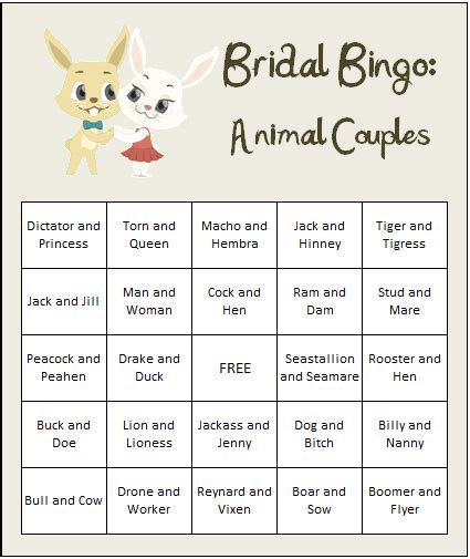 printable card games for couples bridal shower games free animal couples bingo cards