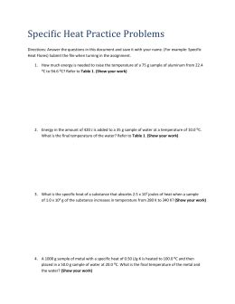 worksheet introduction to specific heat capacities