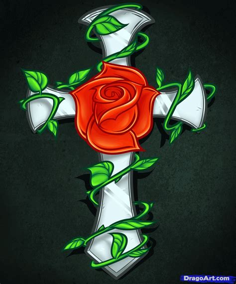 how to draw tattoo roses how to draw a and cross drawings