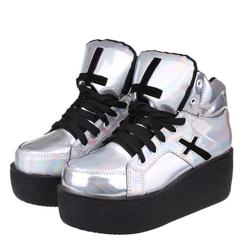 W Fashion Shoes 089 3 womens high platform wedge creepers ankle boots fashion autumn winter silver