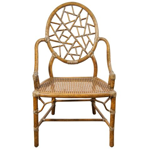 Spider Chair - quot spider web quot bamboo and caned chair at 1stdibs