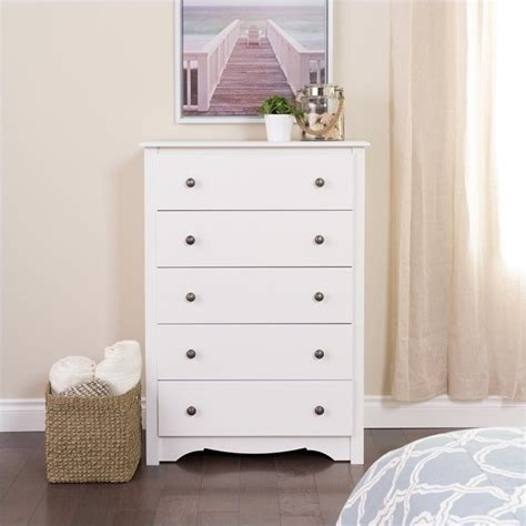 White Dresser Chest by Prepac Monterey 5 Drawer Chest White Dressers Chest Ebay