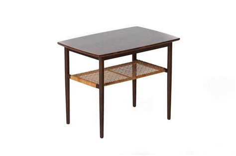 modern end table with shelves danish modern end table with cane shelf at 1stdibs