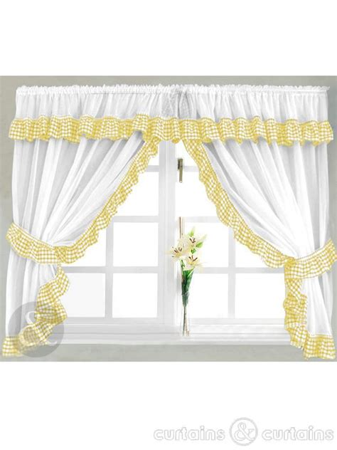gingham check yellow white kitchen curtain curtains uk