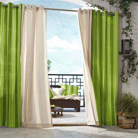Curtains On Patio Outdoor D 233 Cor Gazebo Outdoor Stripe Grommet Top Curtain Panel
