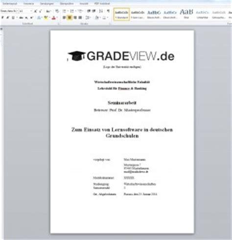 Word Vorlage Für Wissenschaftliche Arbeiten Vorlage F 252 R Das Deckblatt Einer Seminararbeit Zum Kostenlosen Gradeview