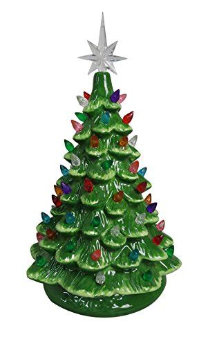 tabletop christmas tree with led lights going green at