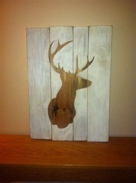 Etsy Crafty by Primitive Distressed Wood Sign Deer By Beecharmerprim