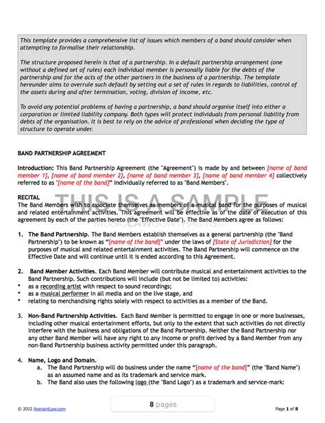 band agreement template