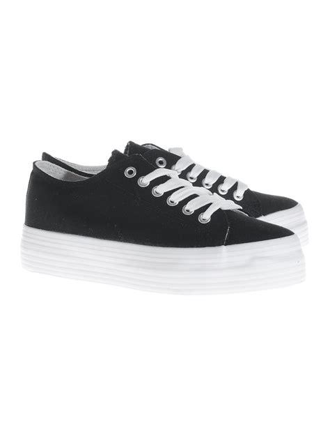 defeeter black white canvas platform canvas sneakers shoes