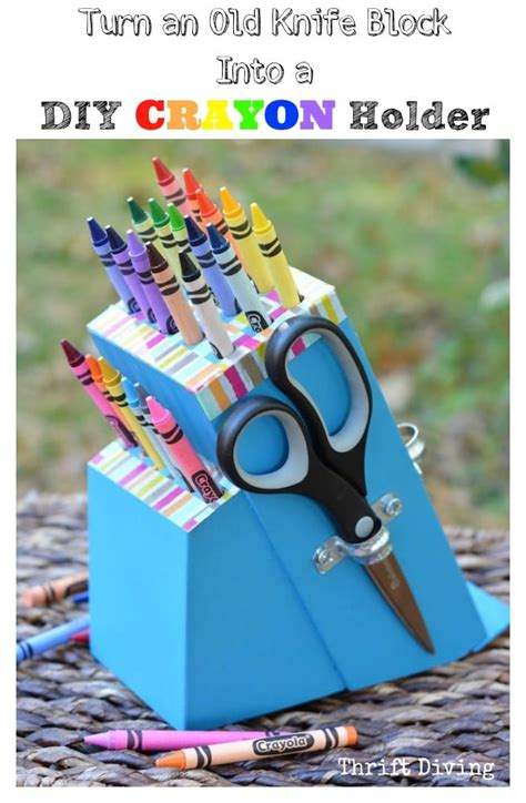 Recycled Crafts For Home Decor by Turn A Knife Block Into A Diy Craft Holder Knife Block Ideas