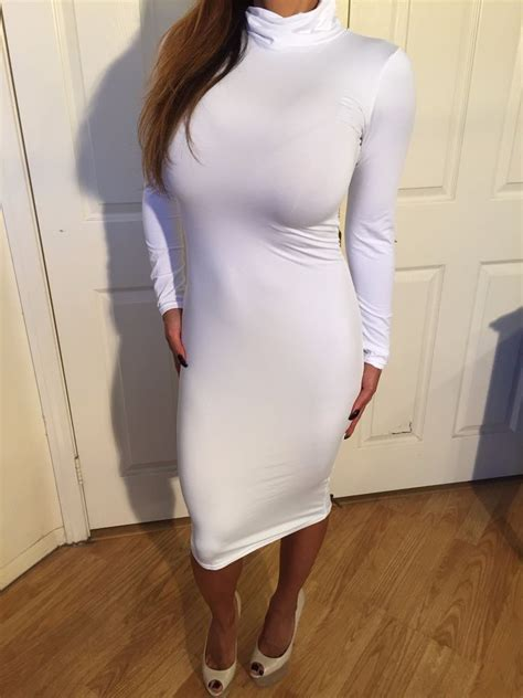 white stretch sleeve turtle neck cocktail dress s ebay