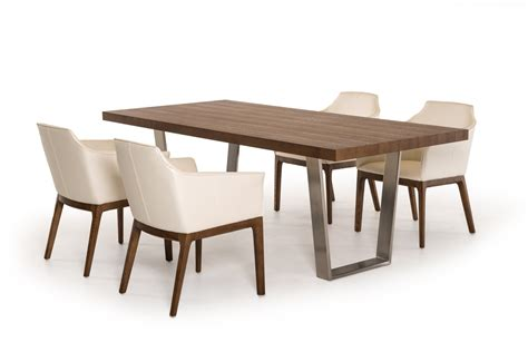 modrest byron mid century walnut stainless steel dining