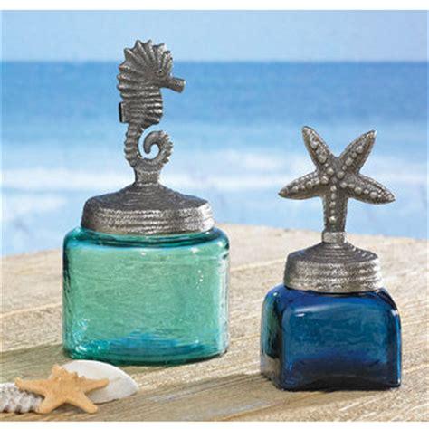 sea glass bathroom accessories starfish and sea glass jars
