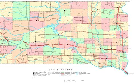 printable south dakota road map map sd south dakota maps perry casta 195 177 eda map collection