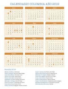 Calendario 2019 Con Festivos Calendario Colombia A 241 O 2019 Feriados