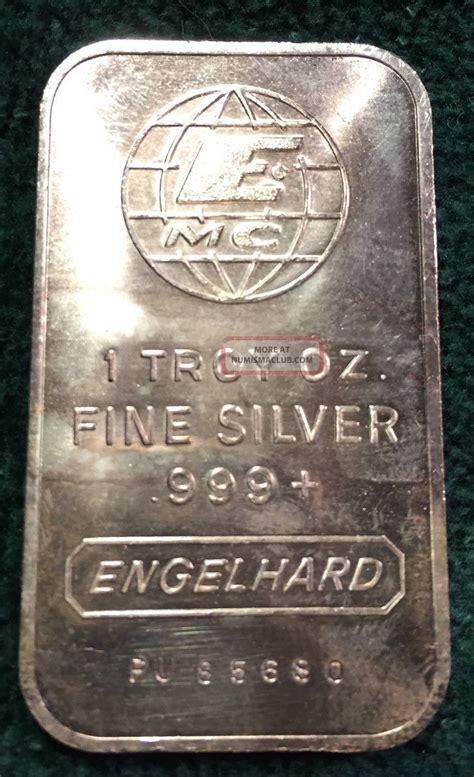 1 Troy Oz Engelhard Silver Bars - 1 oz engelhard silver bar 999