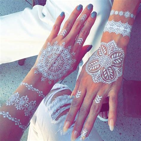 white henna hand tattoo designs white henna tattoos bored panda