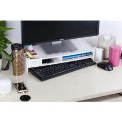 wood computer monitor stand desktop organizer keyboard
