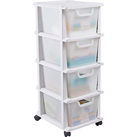 wide storage drawers plastic keter 4 drawer tower storage unit whit
