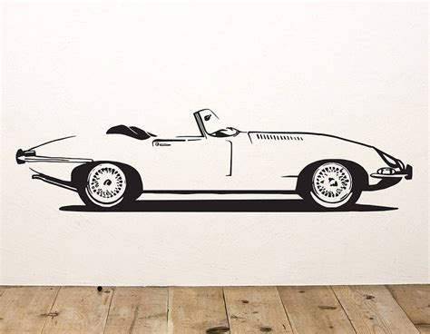 car wall sticker e type sports car vinyl wall sticker contemporary wall stickers