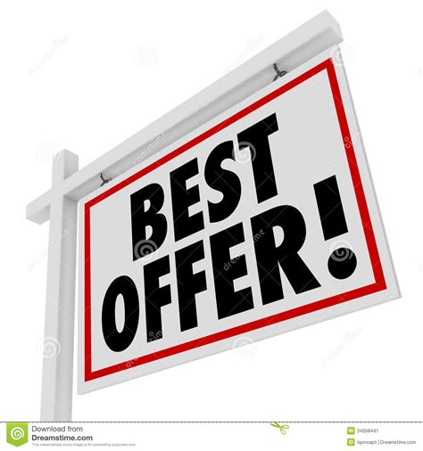 how to put an offer on a house best offer white real estate sign home for sale bid stock image image 34058441