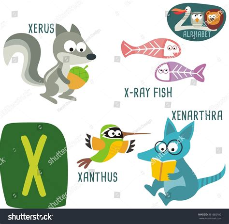 animal alphabet letters q u vector vectores en stock zoo alphabet vector x letter stock vector 361685180
