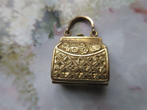 Be D Locket Purse by Antique Purse Fob Picture Locket Gold Fill Taille D