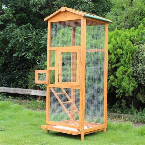 gabbia grande per uccelli pawhut gabbia per uccelli pappagallo grande in legno per