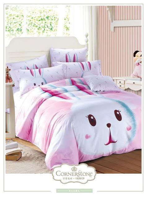 cute pink rabbit bedding set queen size cartoon quilt