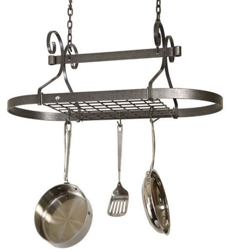 Hanging Pan Racks by Oval Scroll Hanging Pot Rack In Hanging Pot Racks