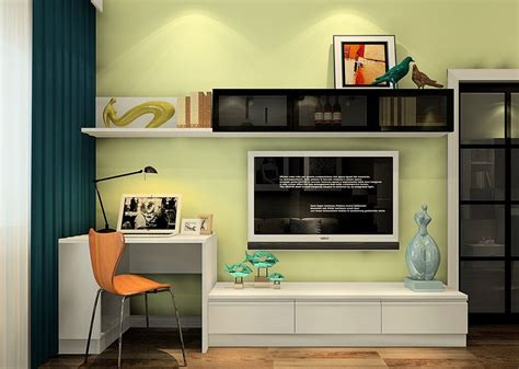 Meubles Gain De Place 786 by Minimalist Desk And Tv Cabinet Combo With Pale Green Wall