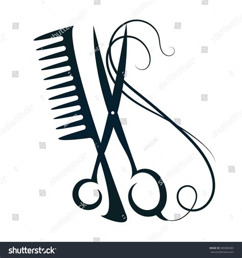 Hairstyle Tools Designs For Silhouette by Scissors Hair Sign Vector Silhouette Stock Vector