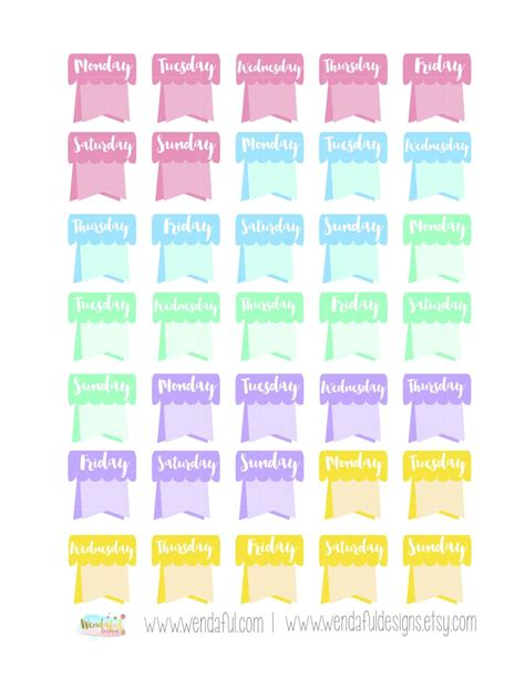 Monthly Planner Sticker wendaful printable stickers planners