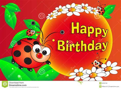free printable birthday cards ladybugs ladybug and flowers birthday card royalty free stock