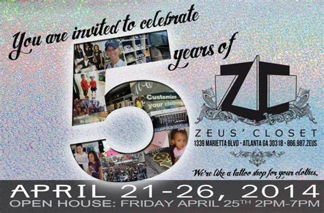 Zeus Closet Atlanta Ga by Atlanta Store Celebrates 5 Year Anniversary