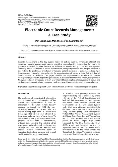 Electronic Court Records Electronic Court Records Management In Malaysia A Study Pdf