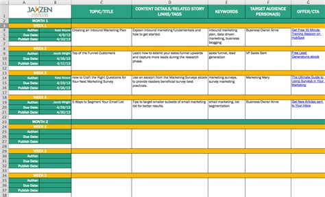 strategic planning calendar template content calendar template
