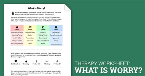 what is worry worksheet therapist aid