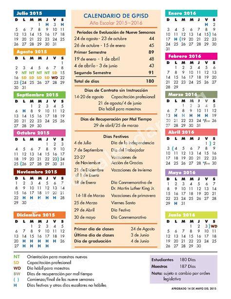 calendario escolar 2015 2016 calendario escolar grand prairie independent