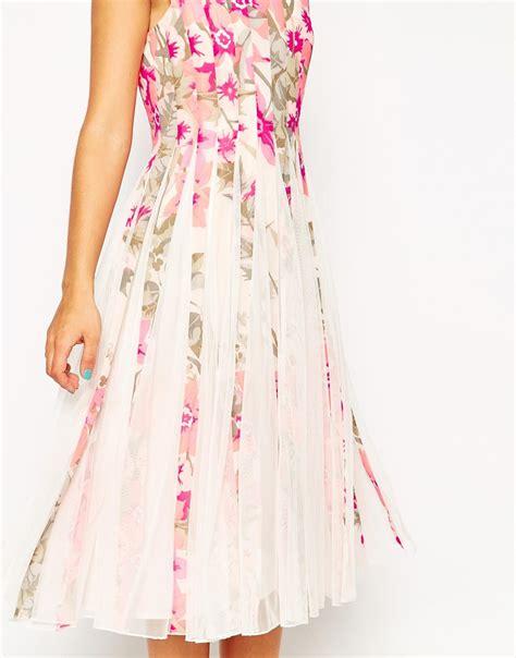 Rizaliana Flowery Flare Midi Dress lyst asos floral mesh insert fit and flare midi dress in pink