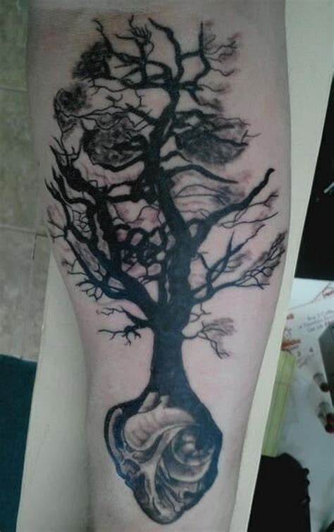 heart tree tattoo design black tree grown from on arm tattoos book