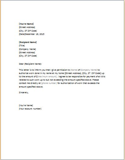 authorization letter template word word excel