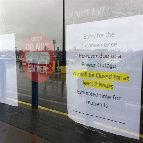 what time is walmart closing for several apple glen stores re open after power outage wane