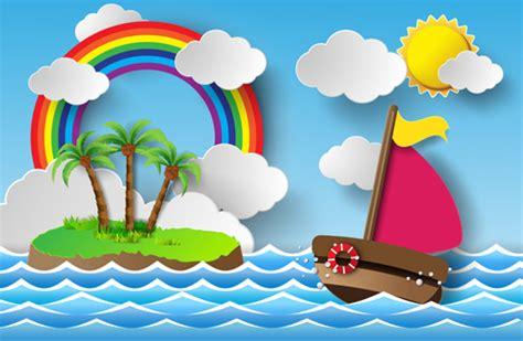cartoon boat trip sailing boat with marine cartoon vectors free vector in