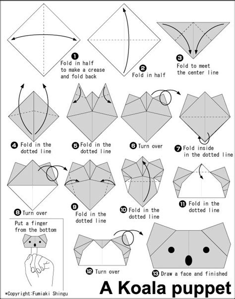How To Make An Origami Puppet - origami koala puppet origami and such