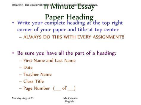 minute essay powerpoint  id