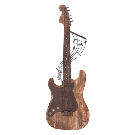 Guitar Wall Decor by Woodland Imports Brown Wooden Guitar Wall Sculpture 11w