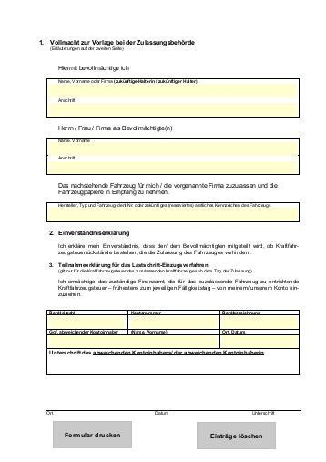 Kfz Versicherung Abmelden Formular by Vollmacht