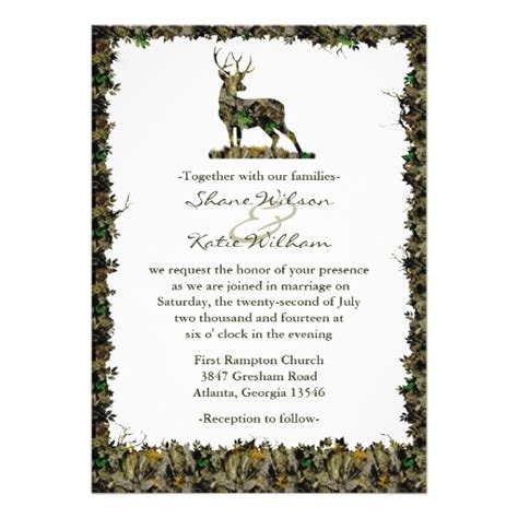 hunting camouflage wedding invitation 5 quot x 7 quot invitation